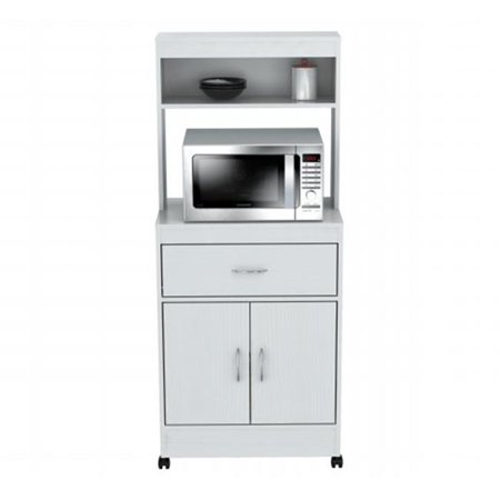 Inval GCM-040 Kitchen Storage Cabinet With Microwave Cart - Laricina White