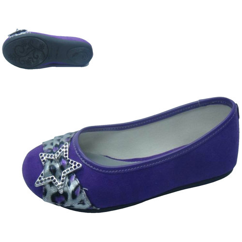 Faded Glory Girls' Casual Star Ballet Shoes, Purple