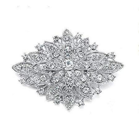 Unik Occasions 5H083 Rhinestone Crystal Brooch (Silver) Sterling Silver Filigree Brooch