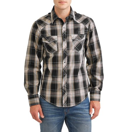 - Men's Long Sleeve Plaids With Contrast Stitch Shirt