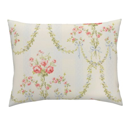 Floral Vintage Victorian Damask Stripe Chic Marie Pillow Sham by
