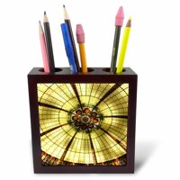3dRose Stained Glass Ceiling, Tile Pen Holder, 5-inch