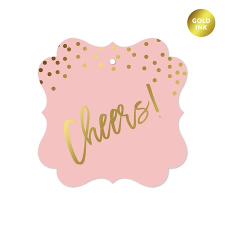 Blush Pink and Metallic Gold Confetti Polka Dots, Fancy Frame Gift Tags, Cheers!, - Dots Gift Tags