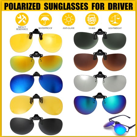 Colorful Fashion UV400 Polarized Sunglasses Clip-On Lens Clip Lenses Day Night Vision Flip Up Men Women Metal Eyewear For Outdoor Fishing Night-Driving