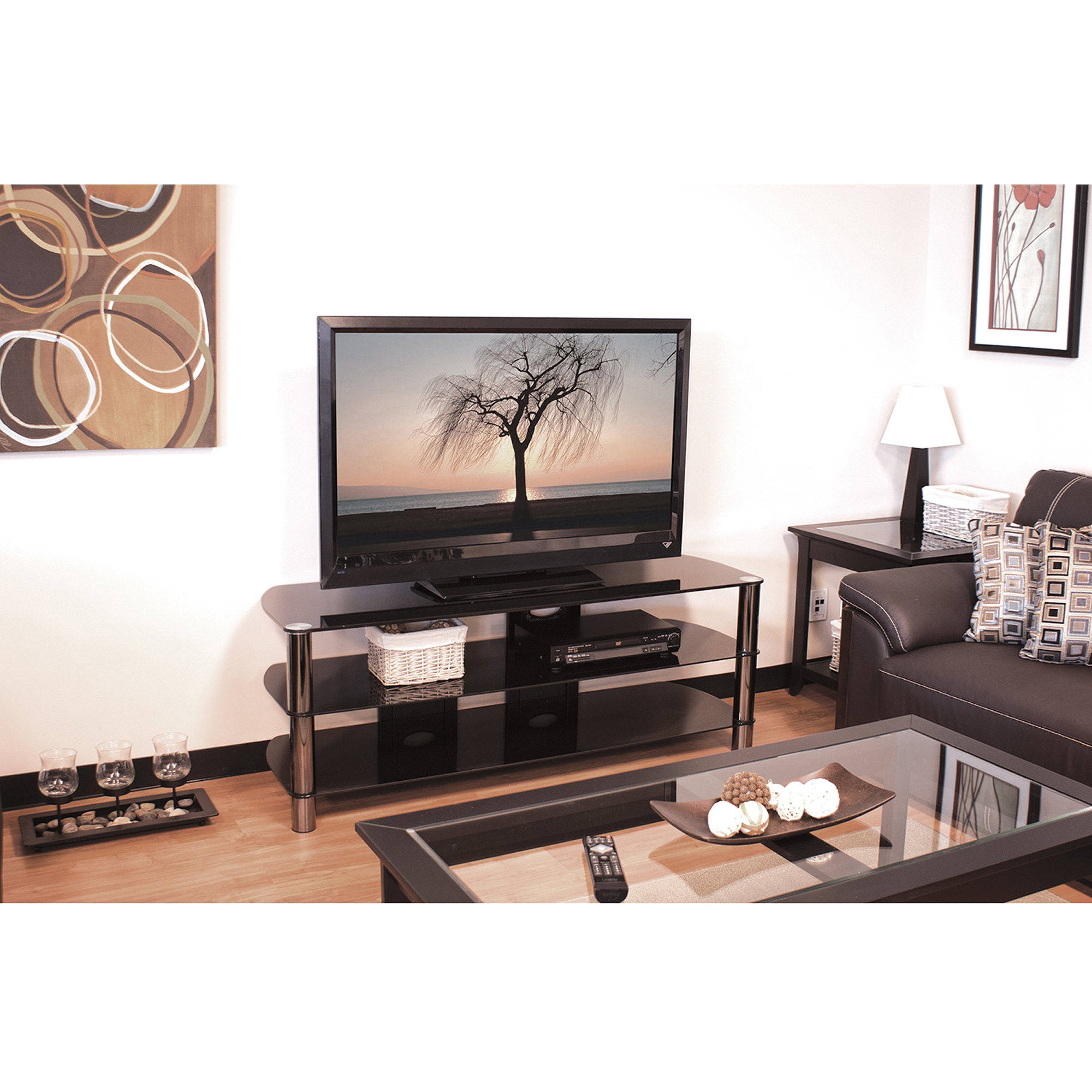 Techcraft 57 Black Metal And Glass Tv Stand For Tvs Up To 65