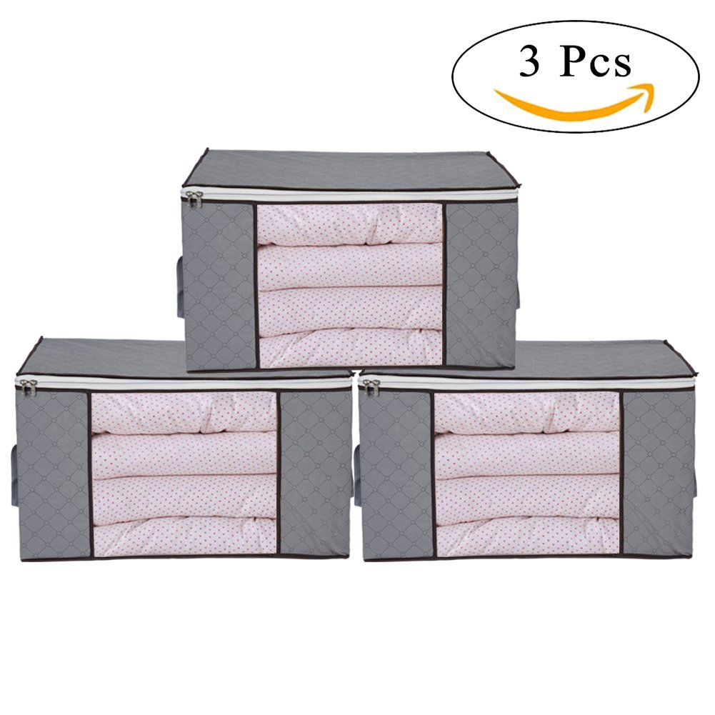 Thick Clothing Organizer Bags,3 Piece Bamboo Charcoal Foldable Storage Zipper Bag Large Durable Closet Storage Boxes Case Container for Dresses Quilt Season Items Storage,Gray