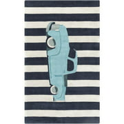 8' x 11' Gray and Blue Striped Sky Blue Classic Truck Area Throw Rug