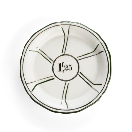 Pinwheel Design (Porcelain Absinthe Saucer - Green & Silver Pinwheel Accents with French Francs Design)