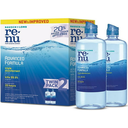 2 Pack - Bausch + Lomb ReNu Advanced Formula, Multi-purpose Contact Lens Solution for Soft Lenses, Twin Pack, 12 oz ea Pack of 2 for the UPC: 310119043059Introducing the only contact lens solution with an advanced triple disinfectant system. Reno Advanced Formula features the latest innovations in lens care science to effectively fight germs, clean lenses and prevent protein deposits. Now that's smart! Reno Advanced Formula multi-purpose contact lens solution delivers excellent disinfection and cleaning, while providing up to 20 hours of moisture  Unique triple disinfectant system kills 99.9% of germs  Provides deep cleaning of contact lenses and helps prevent the formation of deposits  Conditions and hydrates lenses for all day comfort  When it comes to healthy eyes, clean contact lenses make all the difference. Unless your lenses are for single-use only, you'll need to clean and store you contact lenses while you're not wearing them