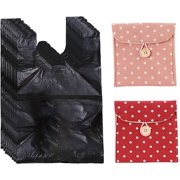 Sanitary Napkin Bags, 200 Pcs Personal Disposal Bags for Women, 2 Sanitary Napkin Storage Bags, Trash Bags with Handle for Feminine Hygiene Product - Black