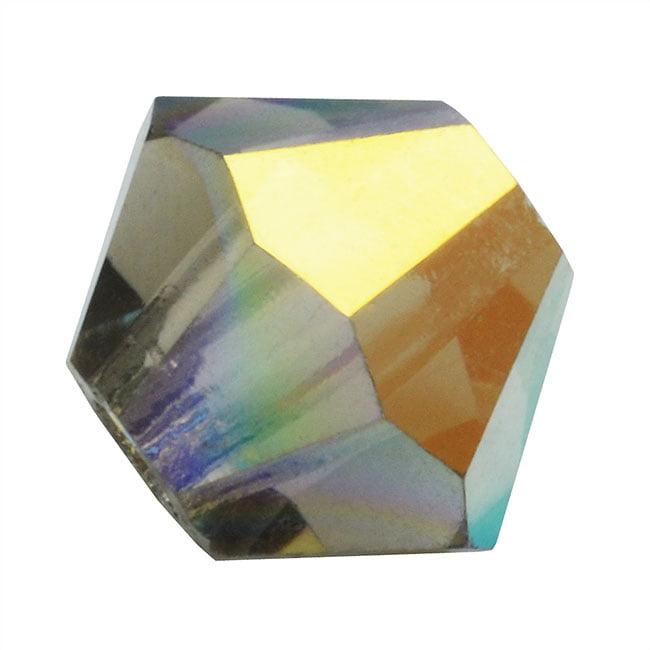 "Preciosa Czech Crystal Bicones Glass Beads 3mm ""Black Diamond AB"" (25)"