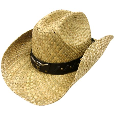 6c53b58787548 Simplicity Men s   Women s Western Style Cowboy   Cowgirl Straw Hat with  Bull Natural - Walmart.com