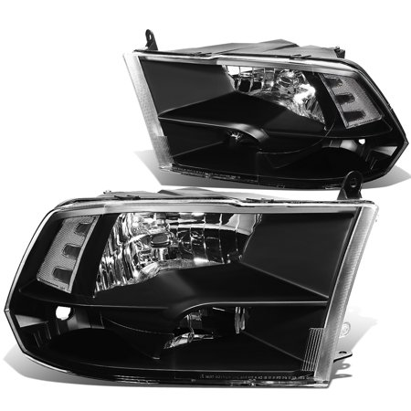 For 2009 to 2018 Dodge Ram Truck 1500 / 2500 / 3500 Pair of Headlight Black Housing Clear Corner Headamp - 4th Gen 10 11 12 13 14 15 16