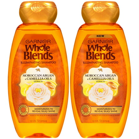 Garnier Whole Blends Shampoo with Moroccan Argan & Camellia Oils Extracts, For Dry Hair, 2 count