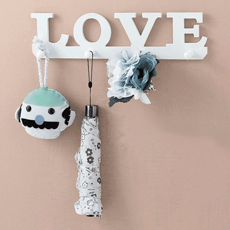 - 4 Hooks LOVE Wooden Hanger Rack Door Wall Mounted Clothes Coat Key Hat Bag Hanging Holder Home Decoration White 13.35x3.46'