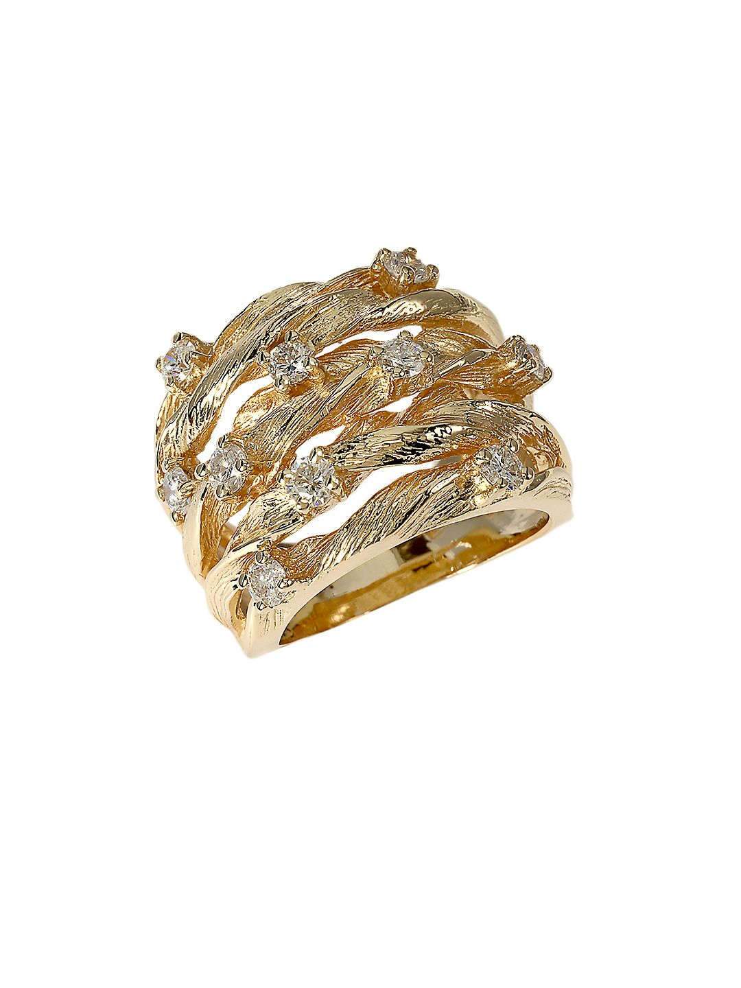 Diamond And 14K Yellow Gold Ring, 0.98 TCW