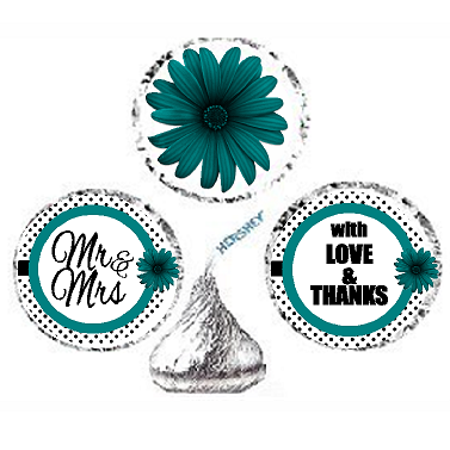 216ct Teal Mr & Mrs Party Favor Hersheys Kisses Candy Decoration Stickers / Labels - Teal Candy
