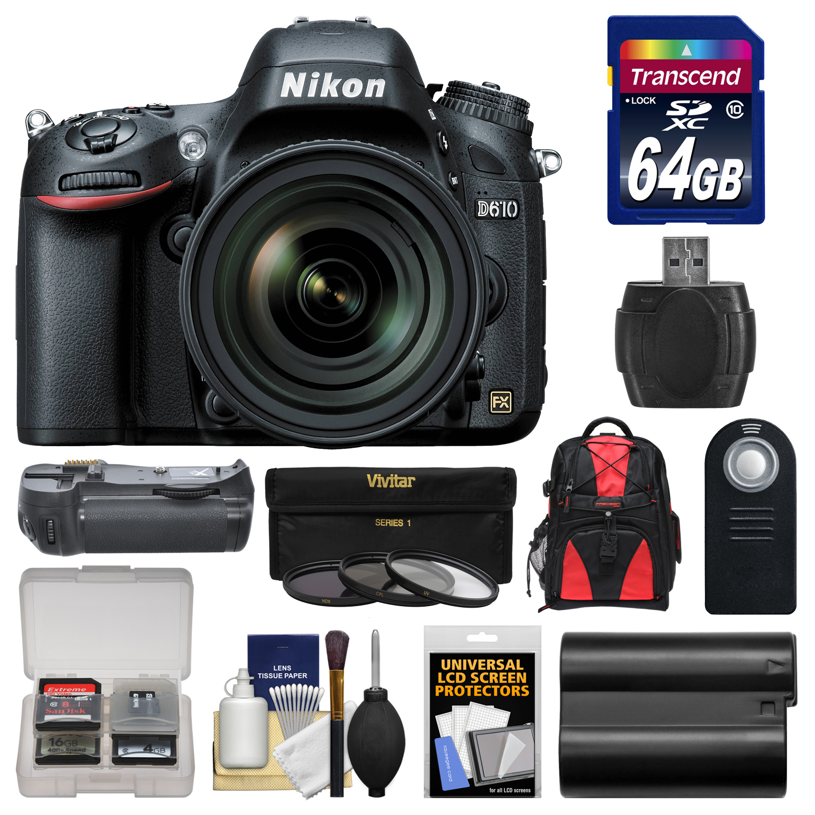 Nikon D610 Digital SLR Camera & 24-85mm VR AF-S Zoom Lens with 64GB Card + Backpack + Grip + Battery + 3... by Nikon