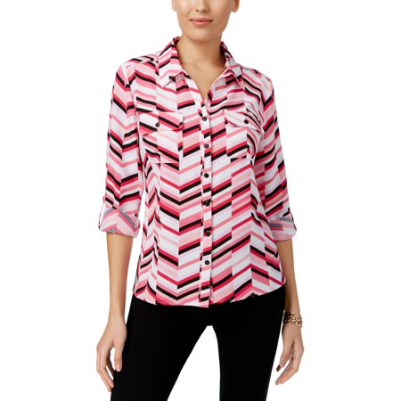 Stripe Cuff Shirt - NY Collection Womens Cuff Sleeves Striped Button-Down Top