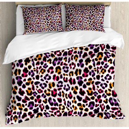 African King Size Duvet Cover Set, Leopard Skin Motif with Abstract Safari Animal Camouflage Pattern, Decorative 3 Piece Bedding Set with 2 Pillow Shams, Magenta Violet Marigold, by Ambesonne