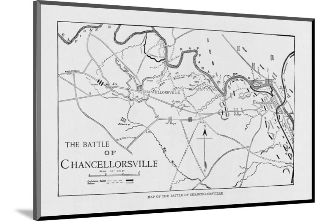 chancellorsville battle map wood mounted print wall art