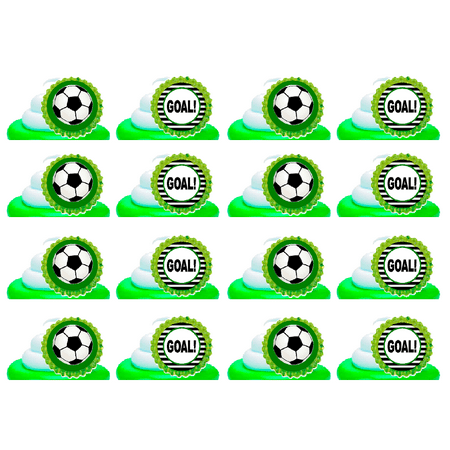 Soccer Goal Easy Toppers Cupcake Decoration Rings -24pk - Soccer Cupcake Toppers