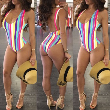 Women Ladies Backless One Piece Swimsuit 2019 Summer Swim Wear Rainbow Beach Wear Bandage Monokini Swimsuit Sexy Swimwear Women Bodysuit Bathing (Best Affordable Suits 2019)