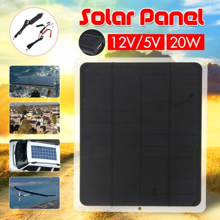 15W 20W 40W 12V/5V Dual Solar Power Panel Semi-Flexible Battery Charger Mono Polysilicon Off Grid Starter Kit RV Cell Controller Cable Waterproof USB For Outdoor Home Car (Best Solar Panel Phone Charger)