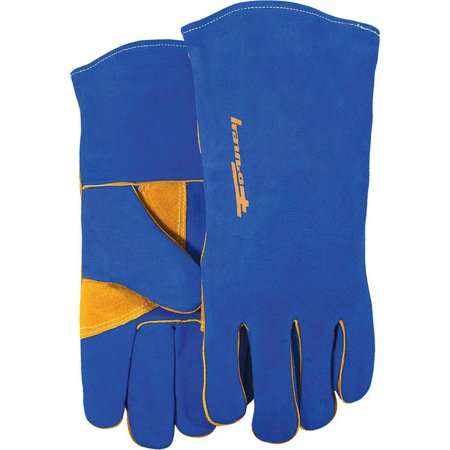 Forney 53423 Industrial Premium Welding Gloves, Men?s, X-Large, Kevlar, Blue/Gold, Cotton Interlock