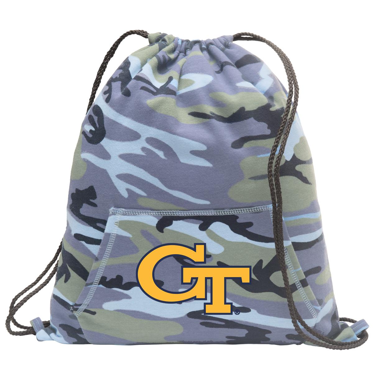 Georgia Tech Drawstring Bag Blue Camo Official Georgia Tech Cinch Backpack for Boys Girls Men Women