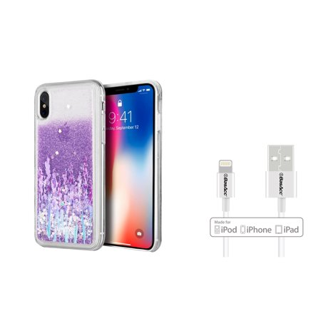 Insten Waterfall Liquid Love & Lavender TPU Rubber Candy Skin Case Cover For Apple iPhone X - Purple (Bundle with Apple Charging Cable)