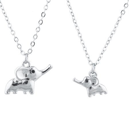 Silver Tone Elephant (Lux Accessories Silver Tone Big Sis Lil Sis Elephant Novelty Necklace Set 2PC)