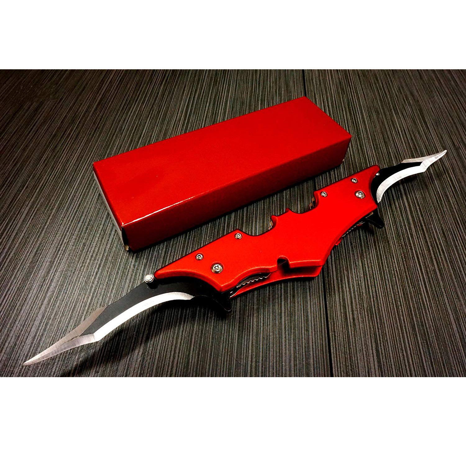 Batman Bat Folding Dual Twin Double Blade Spring Assisted 5 Colors Pocket Knife