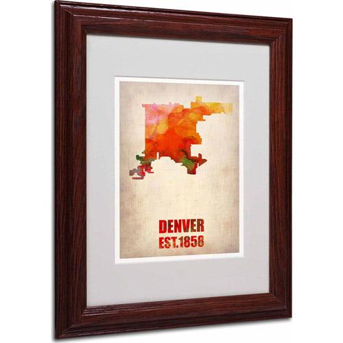 "Trademark Fine Art ""Denver Watercolor Map"" Matted Framed Art by Naxart, Wood Frame"