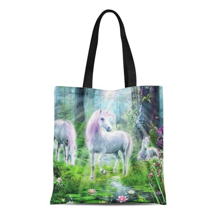 POGLIP Canvas Tote Bag Fantasy Unicorns in Forrest Mythical Reusable Handbag Shoulder Grocery Shopping Bags - image 1 of 1