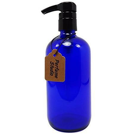 Perfume Studio® Cobalt Blue 16oz Cobalt Glass Boston Round Bottle with BPA Free Dispensing Pump. Perfect for Lotions, Soaps, Massage, Skin Oils, Hair Treatments Cobalt Blue Glass Pump
