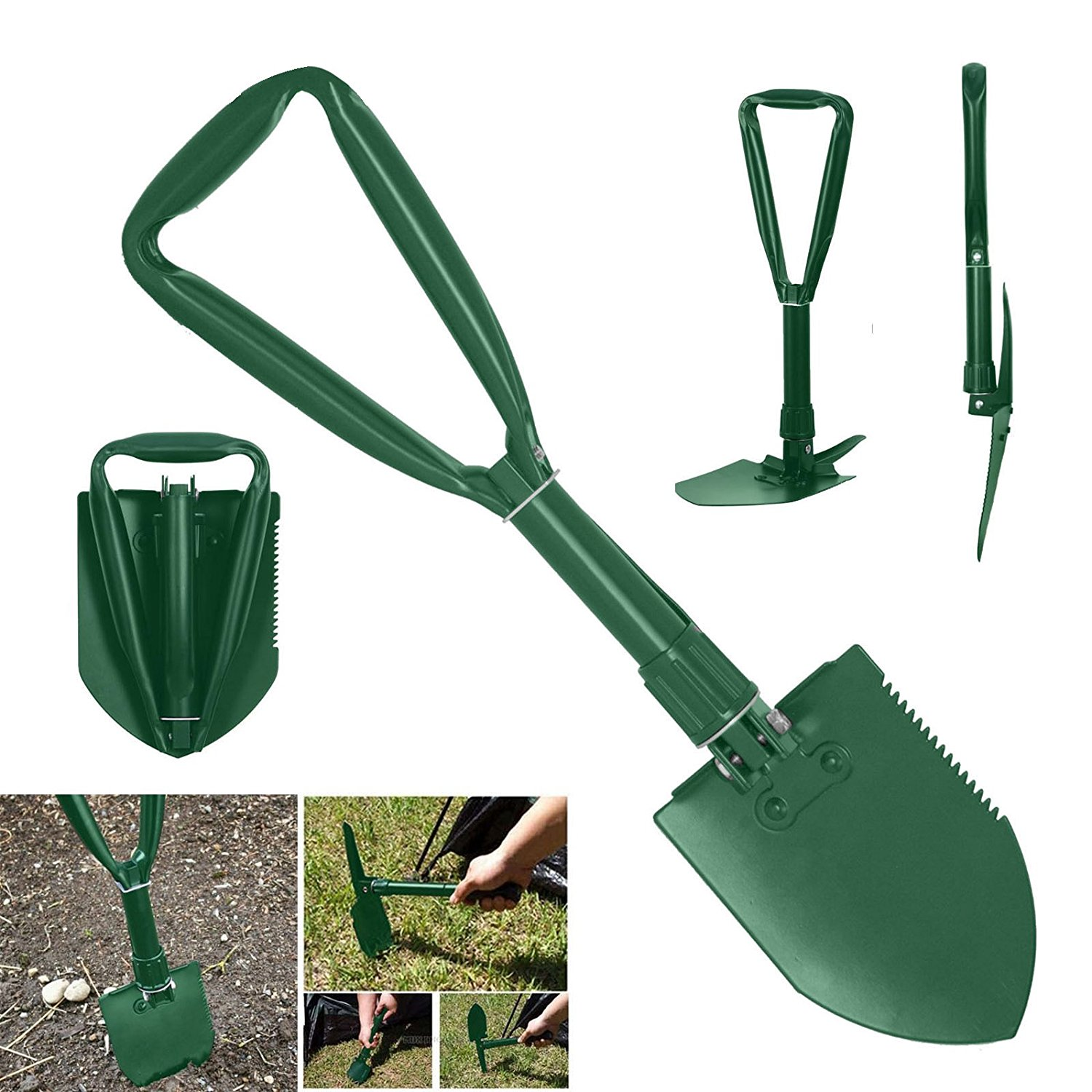Folding Shovel Multi-Tool Knife Case Camping Hunting Survival Compact Tool by