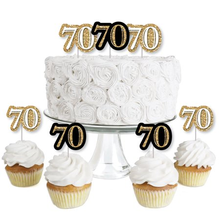 Adult 70th Birthday - Gold - Dessert Cupcake Toppers - Birthday Party Clear Treat Picks - Set of - Masquerade Cupcake Picks