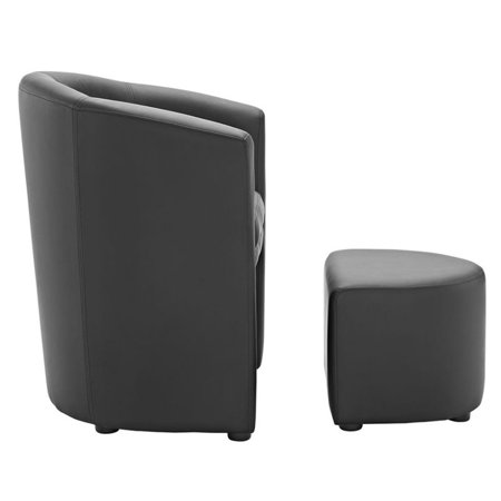 Hawthorne Collections Faux Leather Accent Chair with Ottoman in Black - image 4 of 5