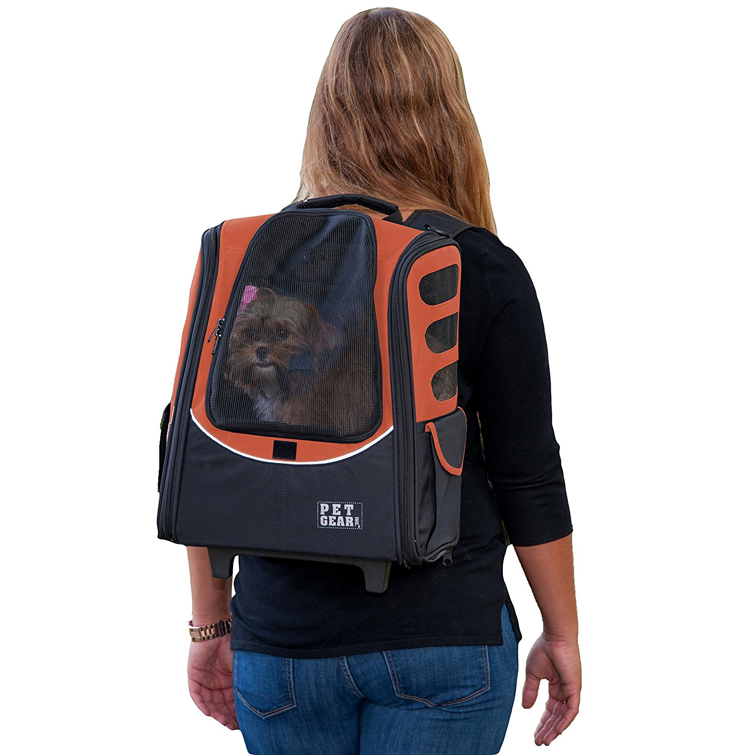I-GO2 Escort Roller Backpack for cats and dogs, Copper, Five products in one; carrier, car seat, backpack, roller bag and tote By Pet Gear