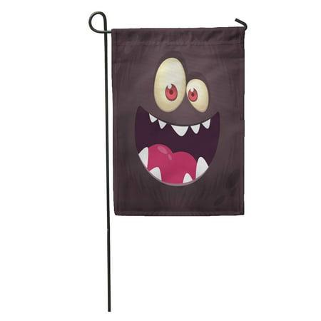LADDKE Colorful Happy Cool Cartoon Black Monster Face Halloween Orange Alien Garden Flag Decorative Flag House Banner 12x18 inch](Cartoon Halloween Monsters)