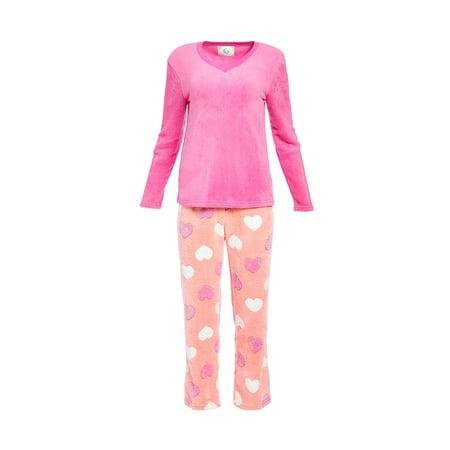 PJ Couture Pink Heart Plush Pajama 2-Piece Set Long Sleeve Pants (Juniors)