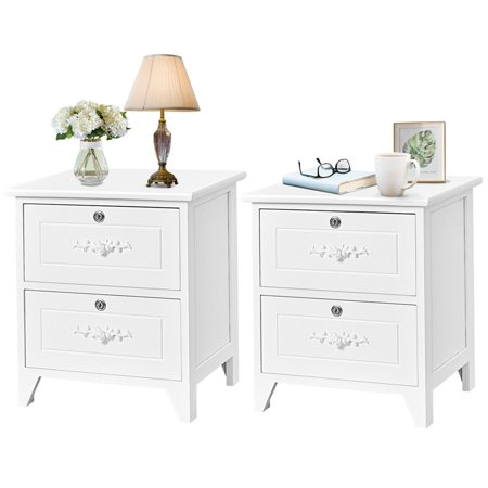 Costway Set of 2 Elegant Nightstand W/2 Locking Drawer End Table Bedside Cabinet White ()