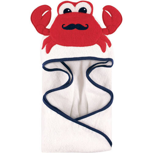 Hudson Baby Woven Terry Animal Hooded Towel, Mr. Crab