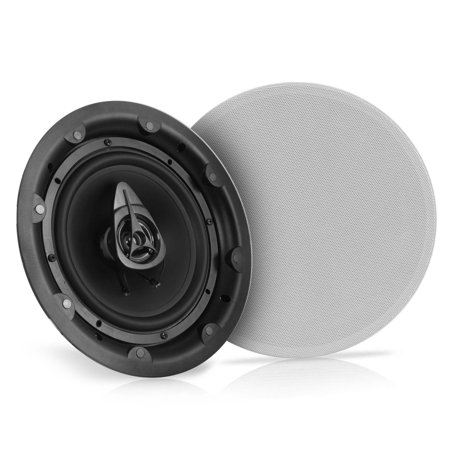 "PYLE PWRC83 - Dual 8"" In-Wall / In-Ceiling Speakers - 2-Way Full Range Stereo Speaker System with Magnetic Grill (600 Watt)"