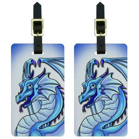 Dragon Happy Blue Cute Fantasy Luggage Tags Suitcase Carry-On ID, Set of -