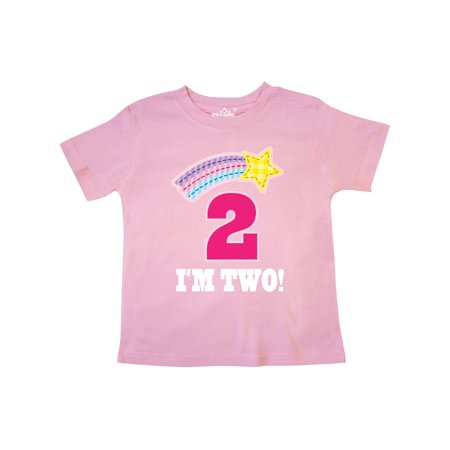 96cb49d1 Inktastic - 2nd Birthday 2 Year Old Girls Rainbow Star Toddler T-Shirt -  Walmart.com