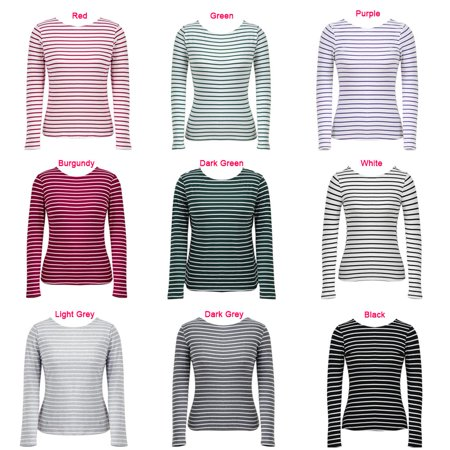 Women Striped T-Shirt Long Sleeves O Neck Vintage Casual Tees Tops Plus Size Pullover - image 4 of 7