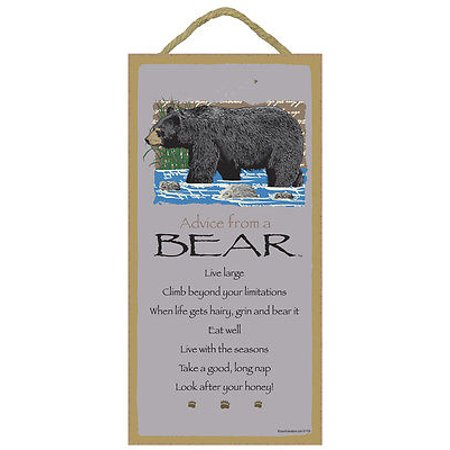 ADVICE FROM A BEAR Primitive Wood Hanging Sign 5