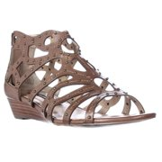 Womens Kensie Zena Studded Gladiator Low Wedge Sandals - Tobacco